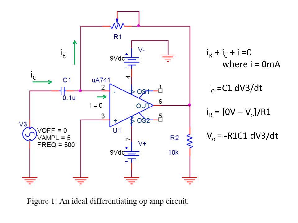iR iR + iC + i =0 where i = 0mA iC =C1 dV3/dt iR = [0V – Vo]/R1